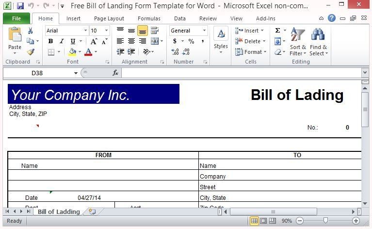Free Bill of Lading Form Template for Excel - bill of lading form