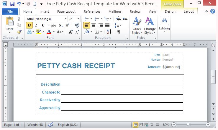 Free Petty Cash Receipt Template For Word With 3 Receipts Per Page - Cash Receipt Voucher Word Format