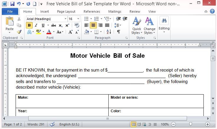 Free Vehicle Bill Of Sale Template For Word