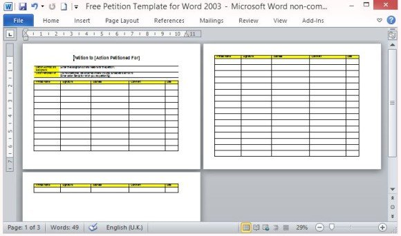 Free Petition Template For Word - microsoft word sign template