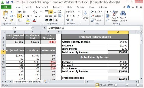 expense worksheet excel