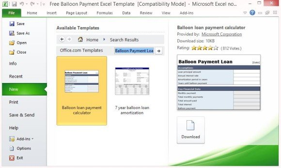 Free Balloon Payment Excel Template - loan payment calculator