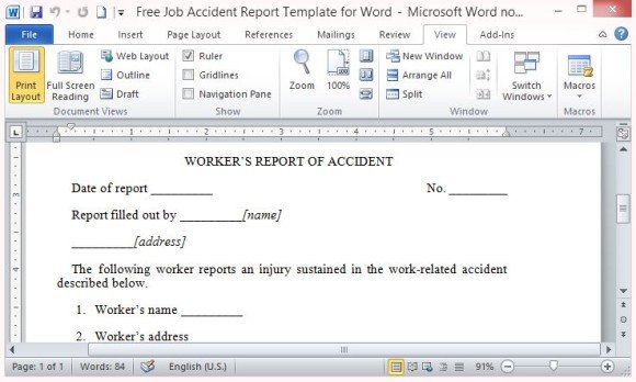 Free Job Accident Report Template For Word - accident reports template