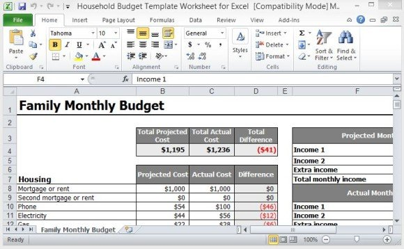 monthly spreadsheets household budgets - Canasbergdorfbib