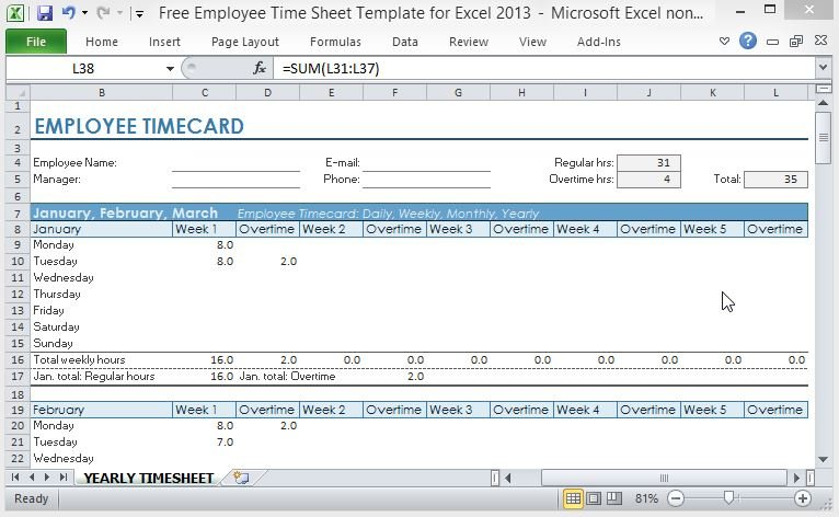 Free Employee Time Sheet Template For Excel 2013 - work hour sheet
