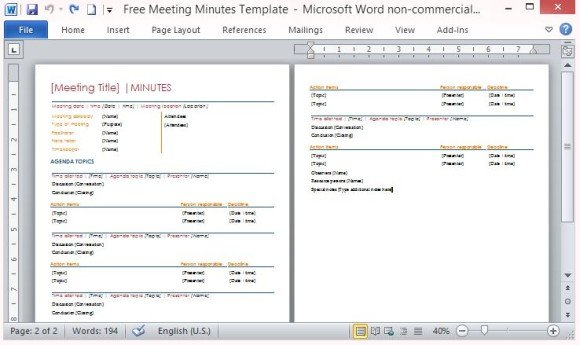 Free Meeting Minutes Template For Word - meetings template