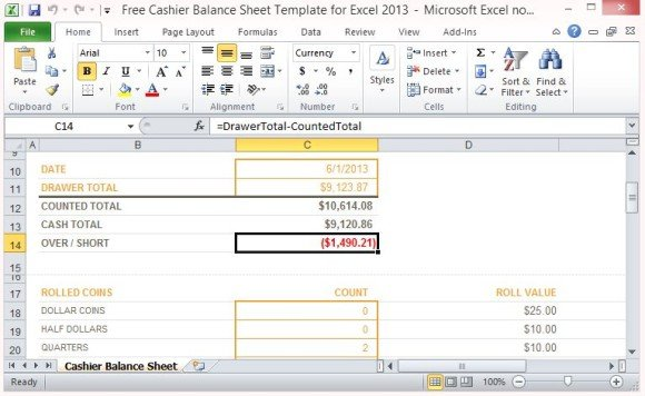 Free Cashier Balance Sheet Template for Excel 2013 - restaurant balance sheets
