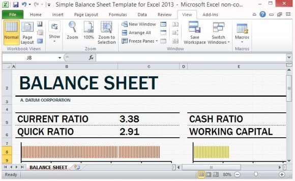 Simple Balance Sheet Template For Excel 2013 With Working Capital - microsoft excel balance sheet template