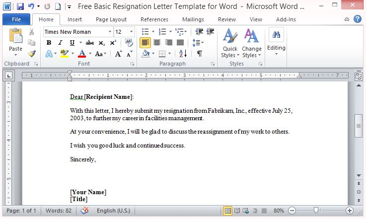 Free Basic Resignation Letter Template For Word - letter templates in word