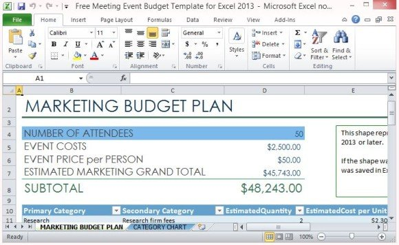 Free Meeting Event Budget Template For Excel 2013 - budget plan