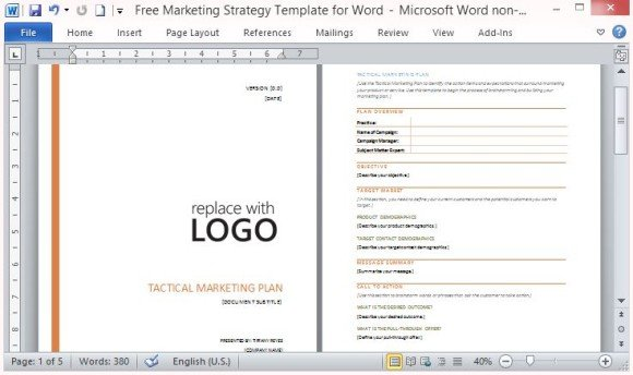 Free Marketing Strategy Template for Word - marketing plan template word