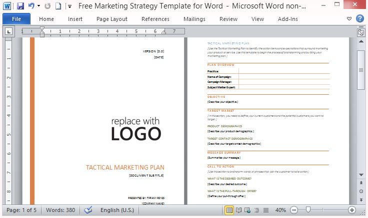 marketing plans templates free - Ozilalmanoof