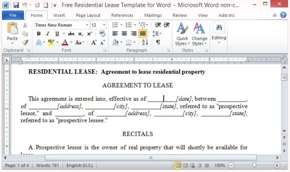 Free Residential Lease Template for Word - lease template word