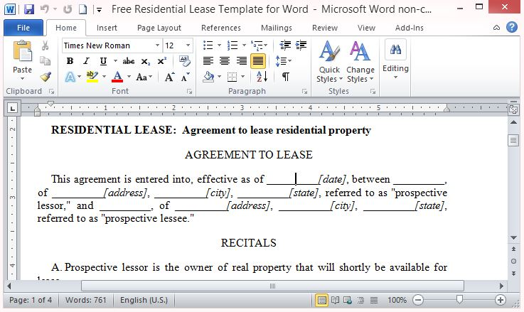 Free Residential Lease Template for Word - lease agreement template in word