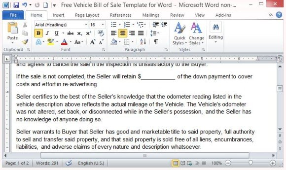 Free Vehicle Bill Of Sale Template For Word - Bill Of Sale Agreement