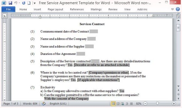 Free Service Agreement Template For Word - microsoft word contract template free