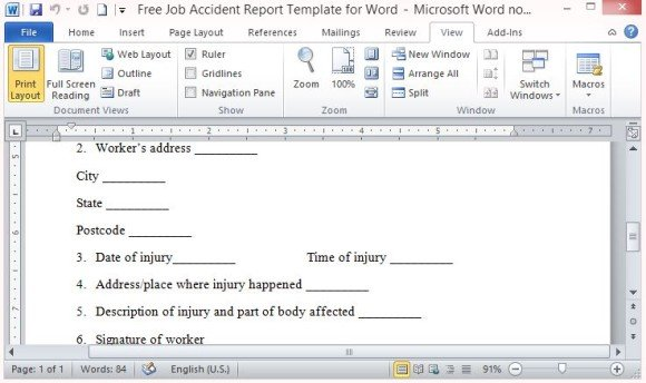 Free Job Accident Report Template For Word - accident report template