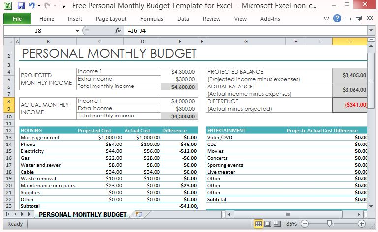 excel budget forms