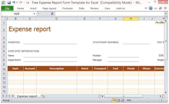 Free Expense Report Form Template For Excel - generic expense report