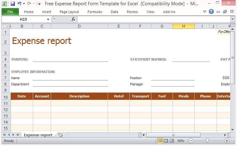 Free Expense Report Form Template For Excel - sample travel expense report