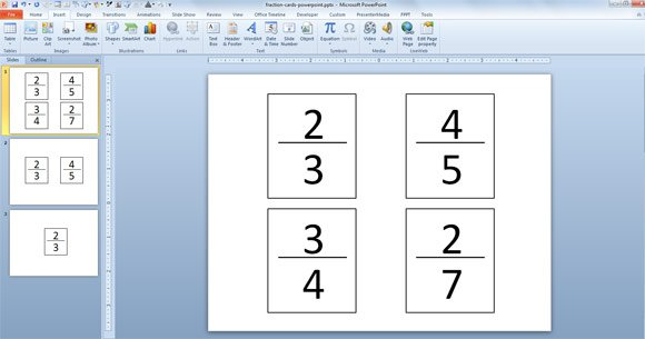 Create Fraction Cards in PowerPoint using Free Fraction Card Template