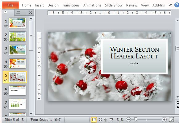Four Seasons Nature Presentation Template For PowerPoint