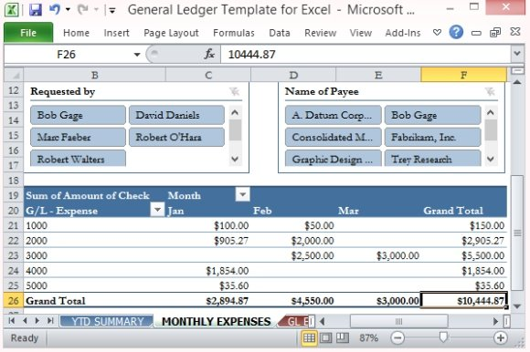 General Ledger Template For Excel - expense excel template
