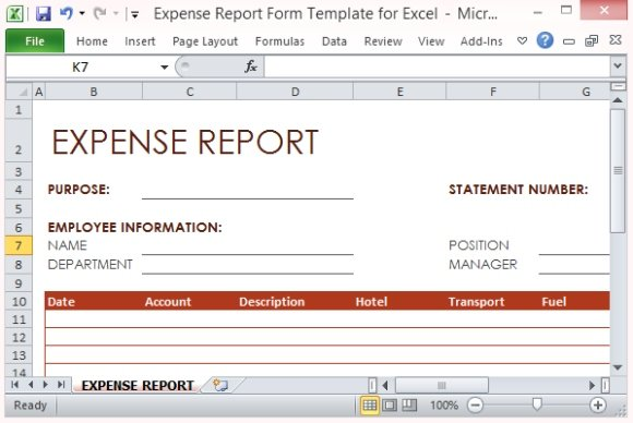 Expense Report Form Template For Excel - list of expenses