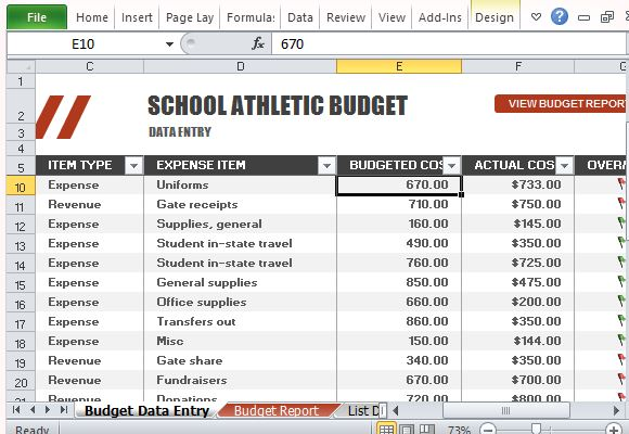 Athletic Budget Template for Excel