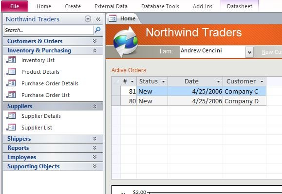 Desktop Northwind Sample Access Database Template