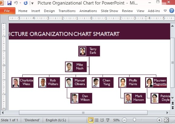 Picture Organizational Chart Template For PowerPoint - company chart template