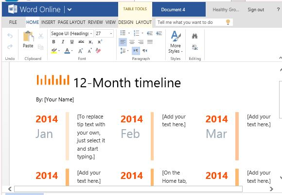 12 Month Timeline Template For Word Online - timeline word template