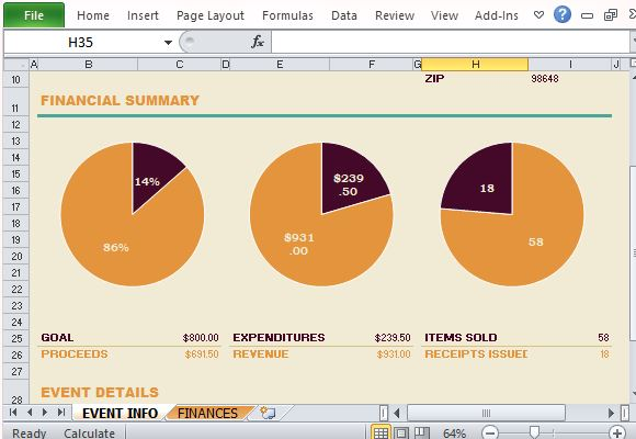 Non Profit Fundraising Report Maker For Excel - event summary report template