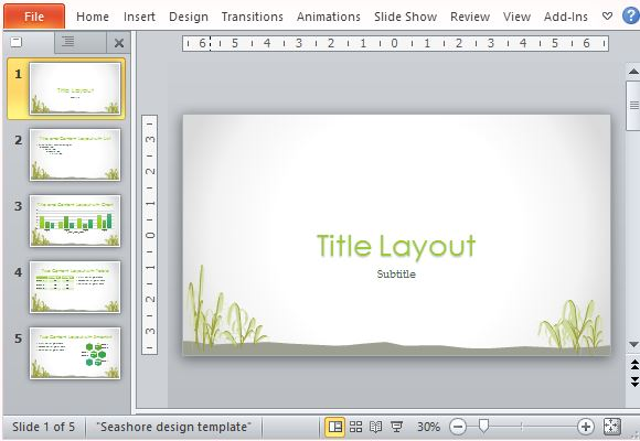 Beautiful PowerPoint Template With Seashore Design