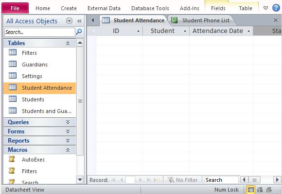 student attendance database