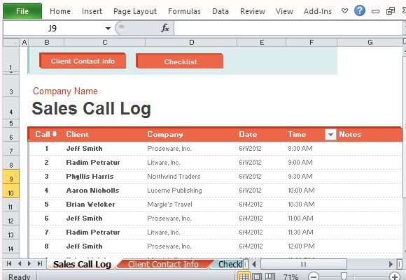 Sales Call Log Organizer For Excel