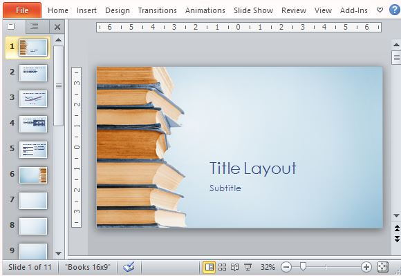 Blue Bookstack Educational PowerPoint Template - powerpoint books