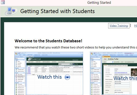 Desktop Student Database Template for Access