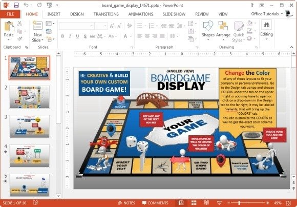 Animated Board Game PowerPoint Template - interactive powerpoint template