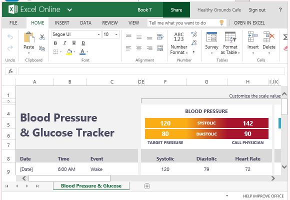 Blood Pressure And Glucose Tracker For Excel - blood glucose chart template
