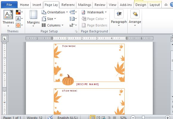 Best Thanksgiving Templates For Microsoft Word - free recipe card template for word