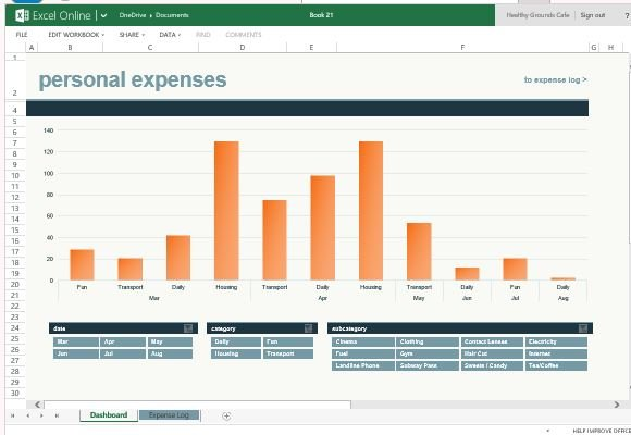 Monthly Expense Chart Template For Excel Online - excel template expense report