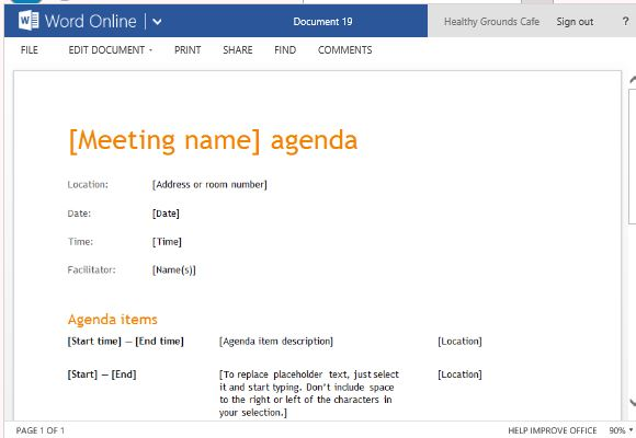 Business Meeting Agenda Template For Word Online - meeting agenda template word
