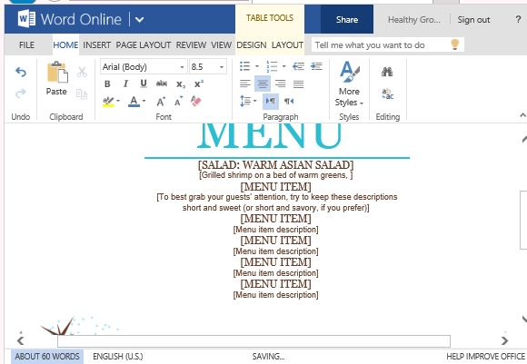 Party Menu Template For Word Online