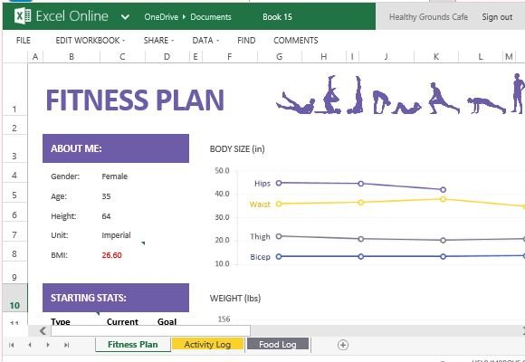 How To Create And Track Your Fitness Plan With Excel Online - Fitness Templates Free