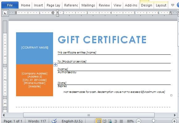 Printable Gift Certificates Template For Word - gift certificate word