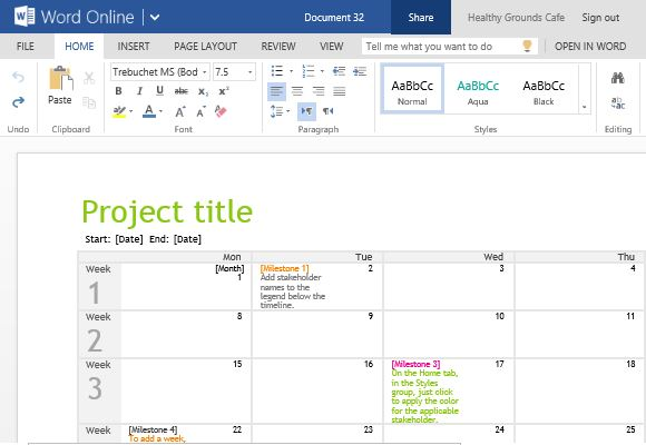 Project Planning Timeline Calendar For Word Online - timeline word template