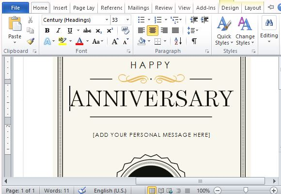 How To Create A Printable Anniversary Gift Certificate - free printable anniversary cards