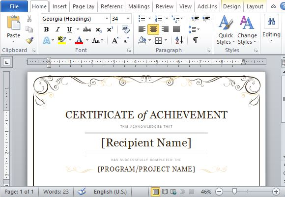 Certificate Of Achievement Template For Word 2013 - microsoft templates certificates