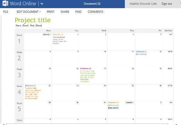 Project Planning Timeline Calendar For Word Online - calendar timeline template